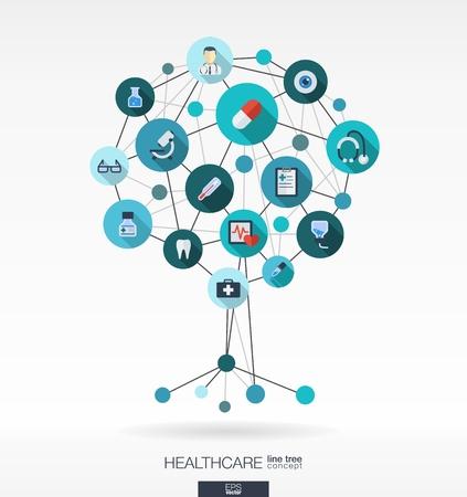 선, 연결 원과 통합 된 평면 아이콘 추상 의학 배경. 의료, 건강, 의료, 간호사, 치아, 온도계, 알약과 크로스 아이콘 성장 트리 개념. 벡터 대화 형입니
