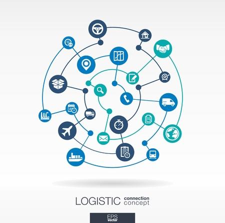 물류 연결 개념. 배달, 서비스, 운송, 유통, 수송 통합 원과 아이콘 추상적 인 배경, 개념을 전달합니다. 벡터 상호 작용 그림 일러스트