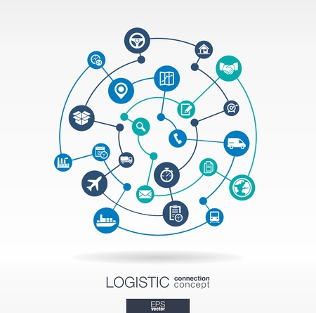 service: Logistic connection concept. Abstract background with integrated circles and icons for delivery, service, shipping, distribution, transport, communicate concepts. Vector interactive illustration