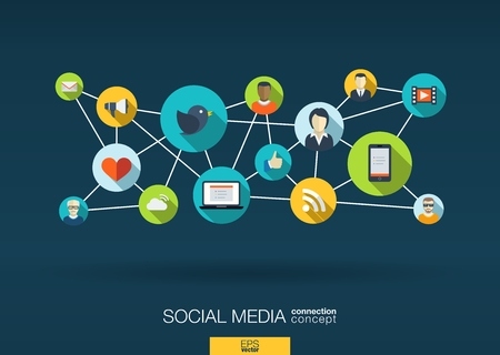 community: Social media network. Growth background with lines, circles and integrate flat icons. Connected symbols for digital, interactive, market, connect, communicate, global concepts. Vector illustration