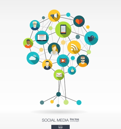 Abstract social media background with lines, connected circles and integrated flat  icons. Growth tree concept with earth, network, computer, technology, like, mail, mobile and speech bubble icon. Vector interactive illustration.