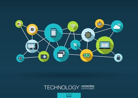 tecnologia: Tecnologia di rete. Sfondo Crescita con linee, cerchi, integrare icone piane. Simboli connessi per digitali, collegarsi, comunicare, social media e concetti globali. Illustrazione vettoriale interattiva