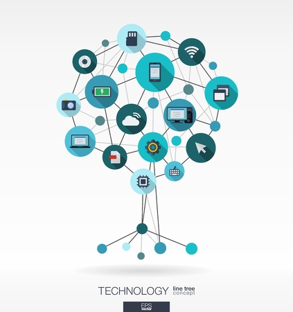 Abstract technology background with lines, connected circles and integrated flat icons. Growth tree (circuit) concept with mobile phone, technology, laptop, cloud computing, usb, pad and router icons. Vector interactive illustration.