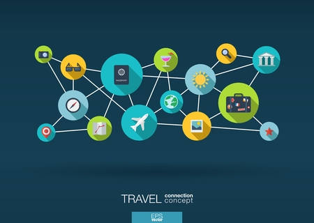 tourism: Travel network. Growth background with lines, circles and integrate flat icons. Connected symbols for tourism, holiday, trip, summer, vacation and global concepts. Vector interactive illustration