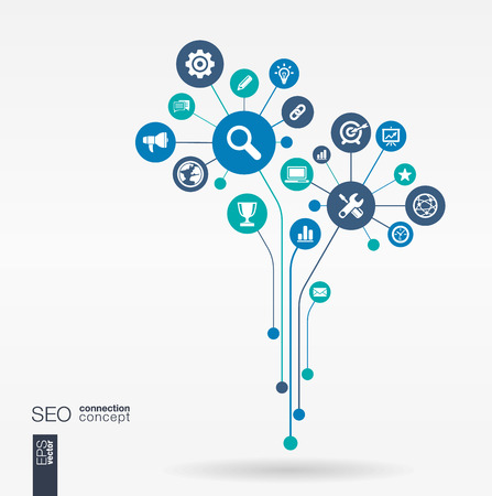 integrated: Abstract SEO background connected circles integrated flat icons. Growth flower idea with network digital connect analytics social media and market concepts. Vector interactive illustration