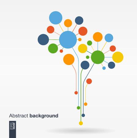 Résumé de fond avec des lignes et des cercles de couleur. notion d'arbre de fleurs de croissance pour le réseau de l'écologie communication entreprise de technologie des médias sociaux et le web design. Flat Vector illustration. Banque d'images - 41722276