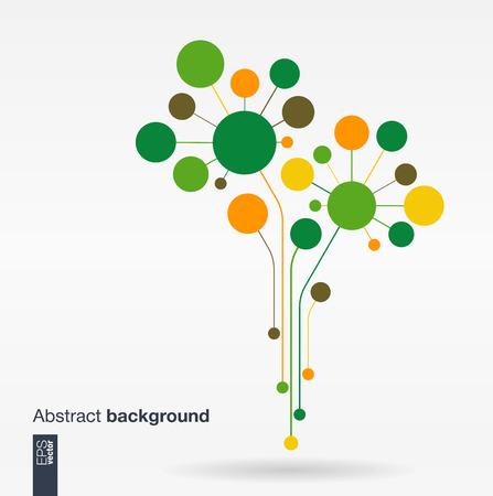 Fondo abstracto con líneas y círculos de color. Concepto del árbol de la flor de Crecimiento para la tecnología de los medios sociales de comunicación empresarial ecología de la red y el diseño web. Ilustración vectorial Flat.