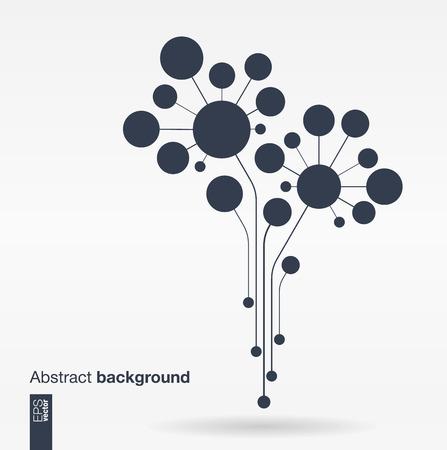 crecimiento: Fondo abstracto con líneas y círculos. Concepto del árbol de la flor de Crecimiento para la tecnología de los medios sociales de comunicación empresarial ecología de la red y el diseño web. Ilustración vectorial Flat.