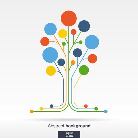 통신: 선과 색 동그라미와 추상적 인 배경을합니다. 통신 비즈니스 소셜 미디어 기술의 생태 네트워크 및 웹 디자인을위한 성장 꽃 트리 개념. 평면 벡터 일 일러스트
