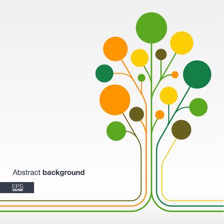 통신: 선과 색 동그라미와 추상적 인 배경을합니다. 통신 비즈니스 소셜 미디어 기술의 생태 네트워크 및 웹 디자인을위한 성장 꽃 트리 개념. 평면 벡터 일러스트 레이 션. 일러스트
