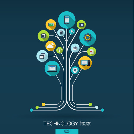 integrated: Abstract technology background with lines connected circles integrated flat icons. Growth tree circuit concept with technology cloud computing and router icons. Vector interactive illustration.