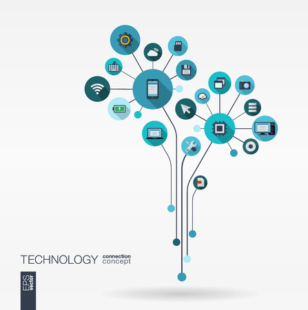 integrated: Abstract technology background with lines connected circles integrated flat icons. Growth flower circuit concept with technology cloud computing and router icons. Vector interactive illustration.