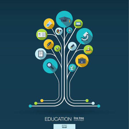 knowledge tree: Abstract education background with lines connected circles and integrated flat icons. Growth tree concept with school science geography biology microscope icon. Vector interactive illustration.