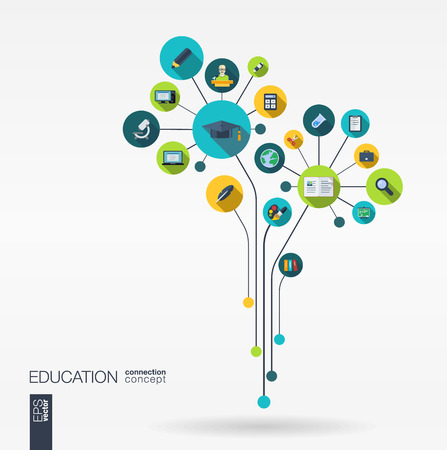 Abstract education background with lines connected circles and integrated flat icons. Growth flower concept with school science geography biology microscope icon. Vector interactive illustration.