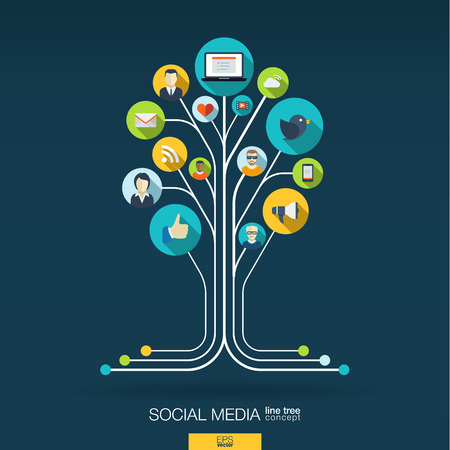 Abstract social media background with lines connected circles integrated flat icons. Growth tree concept with network computer technology speech bubble icon. Vector interactive illustration.