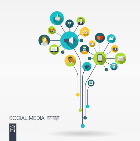 Abstract social media background with lines connected circles integrated flat icons. Growth flower concept with network computer technology speech bubble icon. Vector interactive illustration.