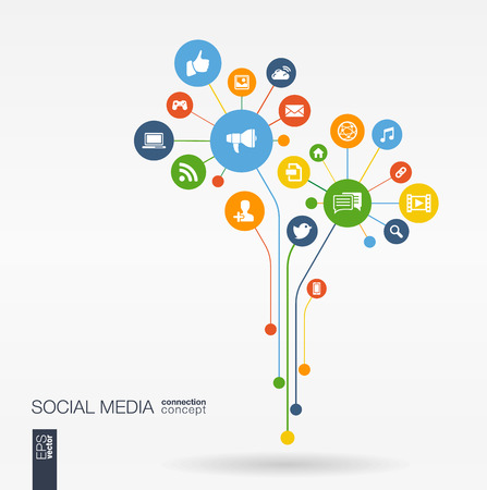 integrated: Abstract social media background with lines connected circles integrated flat icons. Growth flower concept with network computer technology speech bubble icon. Vector interactive illustration
