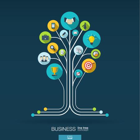 통신: 연결된 동그라미와 추상적 인 배경 평면 아이콘을 통합. 비즈니스 커뮤니케이션 마케팅 연구 전략 임무 분석을위한 성장 트리 개념. 벡터 상호 작용 그