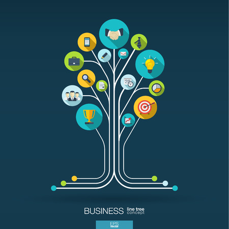 Abstract background with connected circles integrated flat icons. Growth tree concept for business communication marketing research strategy mission analytics. Vector interactive illustration Ilustração