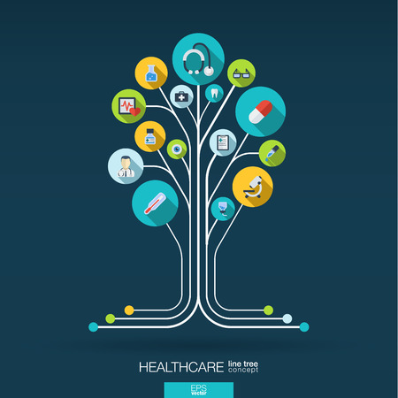 medicine icons: Abstract medicine background with lines connected circles integrated flat icons. Growth tree concept with medical health healthcare thermometer and cross icon. Vector interactive illustration.