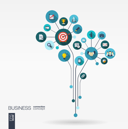 �mission: Abstract background with connected circles integrated flat icons. Growth flower concept for business communication marketing research strategy mission analytics. Vector interactive illustration. Illustration