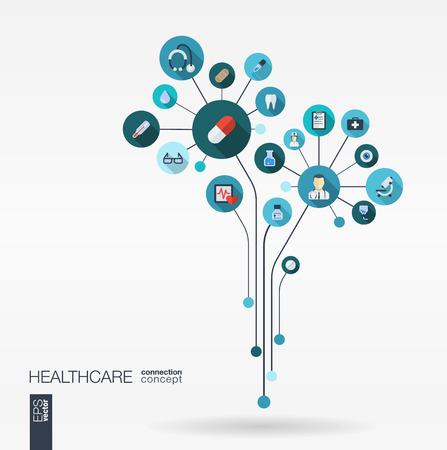 Fondo de la medicina abstracto con las líneas conectadas círculos integrado iconos planos. Crecimiento concepto de flores con termómetro de salud médica y el icono de cruz. Vector ilustración interactiva.