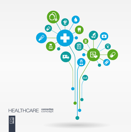 integrated: Abstract medicine background with lines connected circles integrated flat icons. Growth flower concept with medical health care thermometer and cross icon. Vector interactive illustration.
