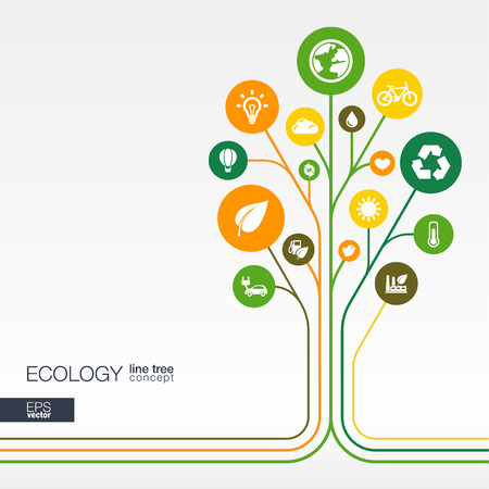 science icons: Abstract ecology background with connected circles integrated flat icons. Growth flower concept with eco earth green recycling nature sun car and home icon. Vector interactive illustration.
