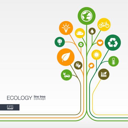 Abstracte ecologie achtergrond met aangesloten cirkels geïntegreerde vlakke pictogrammen. Groei bloem concept met eco aarde groene recycling natuur zon auto en thuis icoon. Vector interactieve afbeelding.