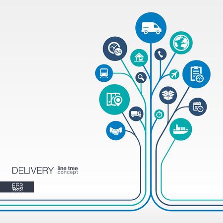 추상 배달 배경 연결된 원은 평면 아이콘을 통합. 물류 서비스 운송 유통 운송 시장의 개념을 성장 나무 생각. 벡터 상호 작용 그림