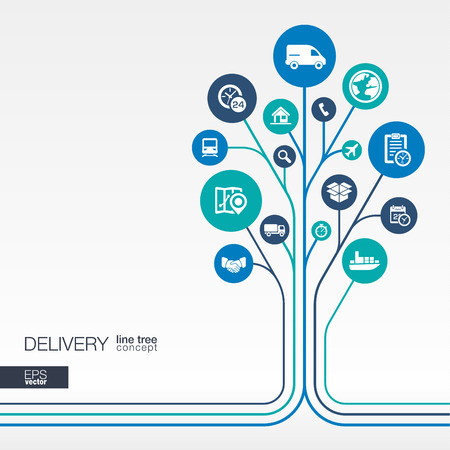 transport icon: Abstract Delivery background connected circles integrated flat icons. Growth tree idea with logistic service shipping distribution transport market concepts. Vector interactive illustration