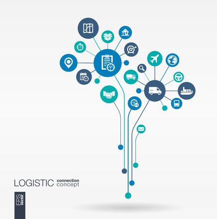 Abstract Delivery background connected circles integrated flat icons. Growth flower idea with logistic service shipping distribution transport market concepts. Vector interactive illustration