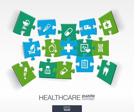 puzzle people: Abstract medicine background with connected color puzzles integrated flat icons. 3d infographic concept with medical health healthcare cross pieces in perspective. Vector interactive illustration.