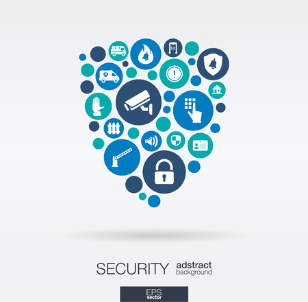 security monitoring: Color circles flat icons in a shield shape: technology guard protection safety control concepts. Abstract background with connected objects in integrated group of elements. Vector illustration. Illustration