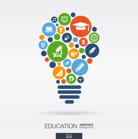educação: Círculos de cor ícones planas em forma de bulbo: ensino de ciências da escola conceitos de e-learning do conhecimento. Fundo abstrato com objetos conectados em grupo integrado de elementos. Ilustração do vetor.
