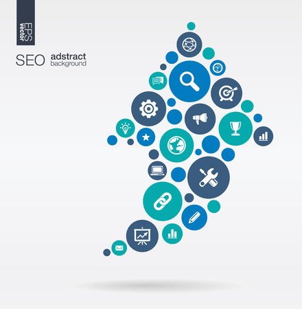 Color circles flat icons in an arrow up shape: technology SEO network digital analytics data and market concepts. Abstract background with connected objects in group. Vector illustration. 일러스트