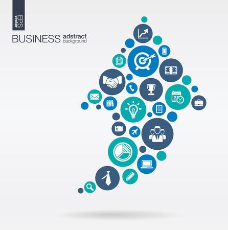 Koła kolorów z płaskich ikon w strzałką w górę biznes marketing misja strategia badań analitycznych koncepcji. Abstrakcyjne tło z połączonych obiektów. Ilustracja wektora interaktywne.