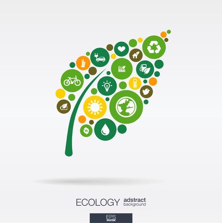 Ícones lisos dos círculos de cor em uma forma de folha: conceitos verdes do carro do eco da natureza do eco da terra da ecologia. Fundo abstrato com objetos conectados no grupo integrado de elementos. Vetor