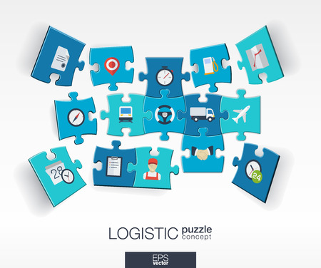 business connection: Abstract logistic background with connected color puzzles integrated flat icon. 3d concept with Delivery service shipping distribution transport market pieces in perspective. Vector illustration