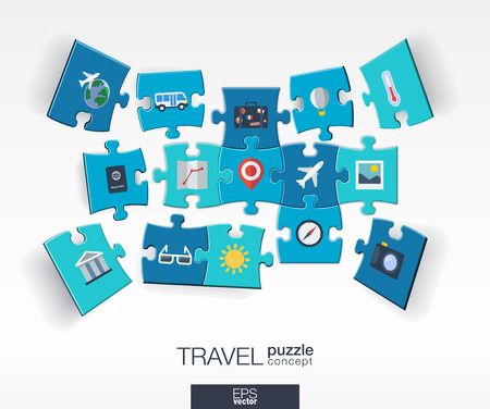 jigsaw puzzle pieces: Abstract travel background with connected color puzzles integrated flat icons. 3d infographic concept with Airplan luggage summer tourism pieces in perspective. Vector interactive illustration.