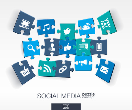 Abstract social media background with connected color puzzles integrated flat icons. 3d infographic concept with network computer technology pieces in perspective. Vector interactive illustration.