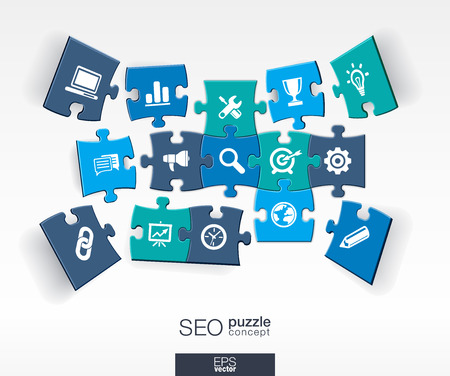 business solution: Abstract SEO background with connected color puzzles integrated flat icons. 3d infographic concept with network digital analytics data and market pieces in perspective. Vector illustration Illustration