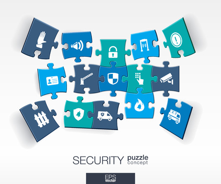 Abstract Security background with connected color puzzles integrated flat icons. 3d infographic concept with technology guard protection safety control pieces in perspective. Vector illustration