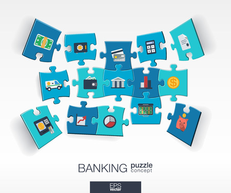 Abstract banking background with connected color puzzles integrated flat icons. 3d infographic concept with money card bank and finance pieces in perspective. Vector interactive illustration.  イラスト・ベクター素材