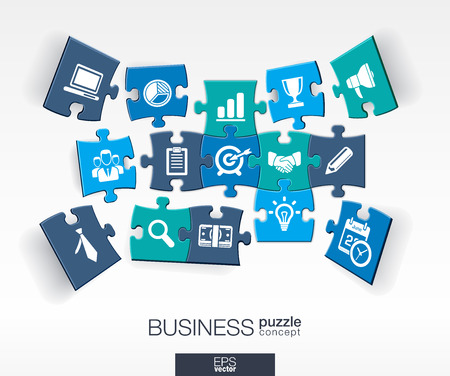 Abstract business background connected color puzzles integrated flat icons. 3d infographic concept with marketing research strategy mission analytics pieces in perspective. Vector illustration.