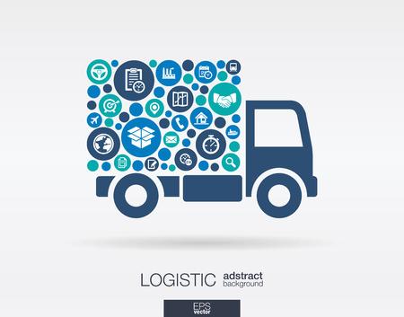 Círculos de cor ícones planas em forma de caminhão de entrega de serviços: logística de distribuição de envio conceitos do mercado de transportes. Fundo abstrato com objetos conectados. Ilustração do vetor.