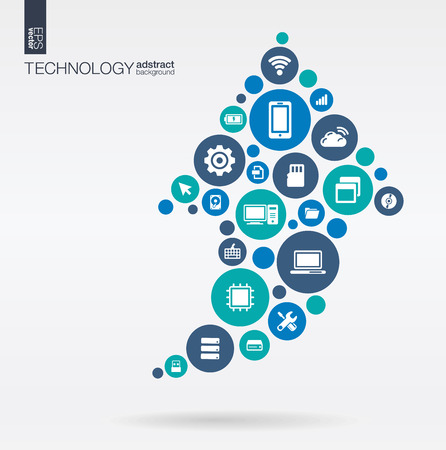technologies: Color circles flat icons in arrow up shape: technology cloud computing digital concept. Abstract background with connected objects in integrated group of elements. Vector interactive illustration