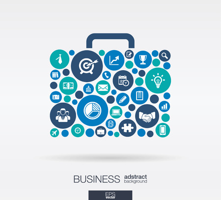 Color circles flat icons in a case shape: business marketing research strategy mission analytics concepts. Abstract background with connected objects. Vector interactive illustration. 일러스트