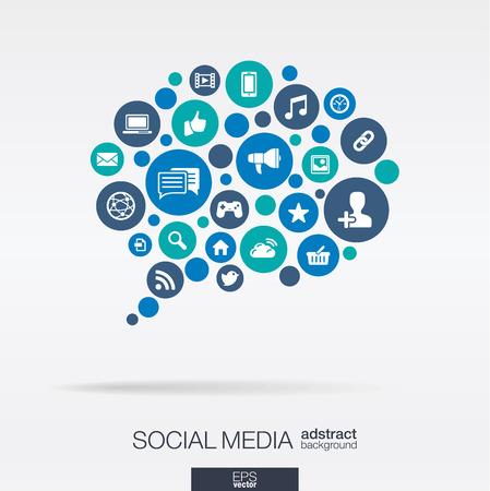interaccion social: C�rculos de color iconos planos en forma de burbuja de di�logo: la tecnolog�a de los medios sociales concepto ordenador de la red. Resumen de fondo con objetos conectados en grupo integrado de elementos. Ilustraci�n vectorial