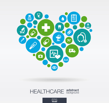 medical icons: Color circles with flat icons in a heart shape: medicine medical health cross healthcare concepts. Abstract background with connected objects in integrated group of elements. Vector illustration.